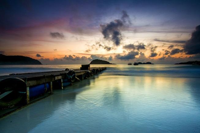 Il mare dell'isola di Redang al tramonto