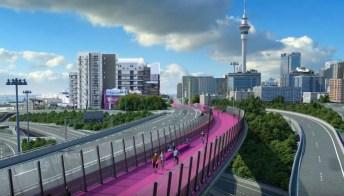 Nelson Street Cycleway, la pista ciclabile rosa più bella del mondo