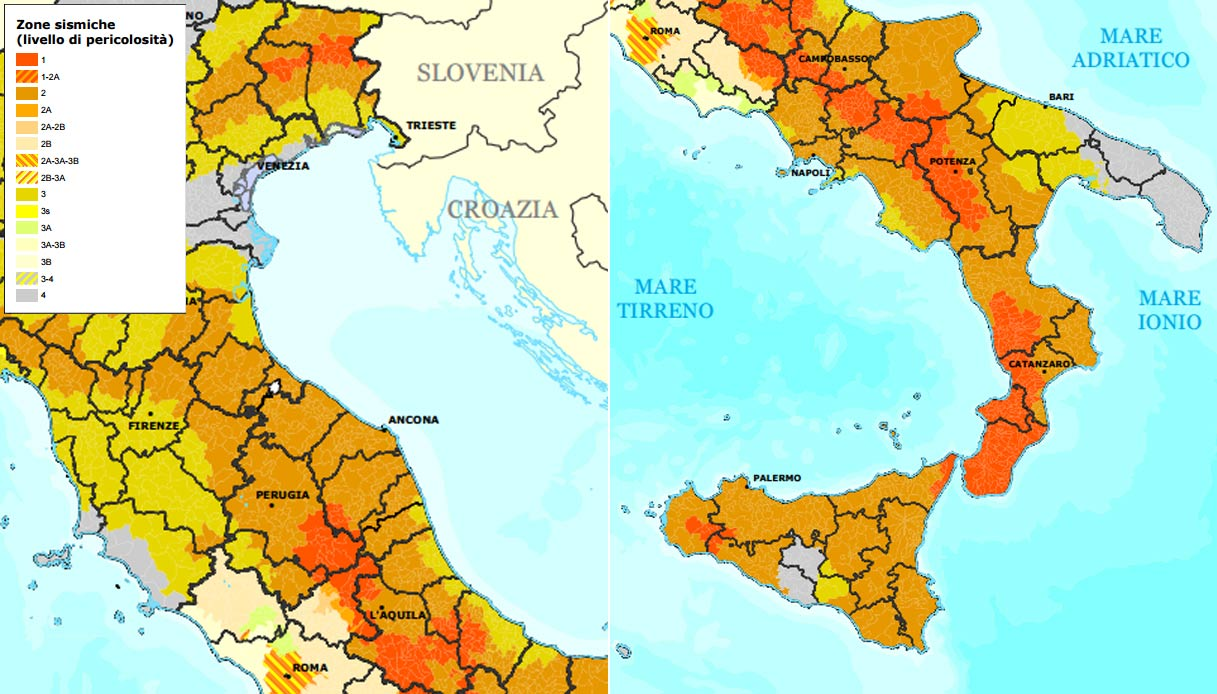 Cartina Dell Italia Zone Sismiche.La Mappa Che Classifica L Italia In Base Alle Zone Sismiche Siviaggia