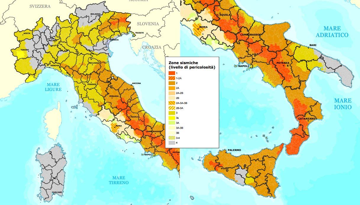 Cartina Zone Sismiche Italia.La Mappa Che Classifica L Italia In Base Alle Zone Sismiche Siviaggia
