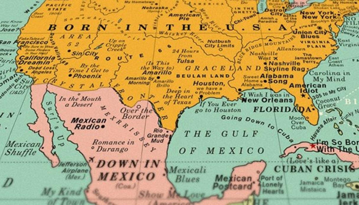 Cartina Mondo Con Nomi.Viaggi E Musica La Carta Geografica Con I Titoli Delle Canzoni Siviaggia