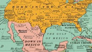 Viaggi e musica: la carta geografica con i titoli delle canzoni