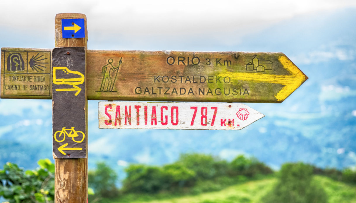 Cartello con le indicazioni per il Cammino di Santiago