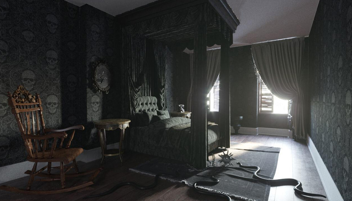 La camera da letto della casa