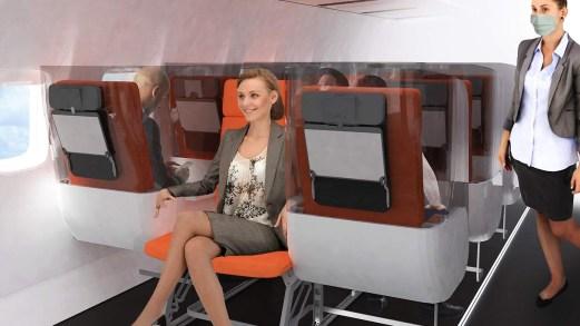 Poltrone invertite e pareti trasparenti: come viaggeremo in aereo