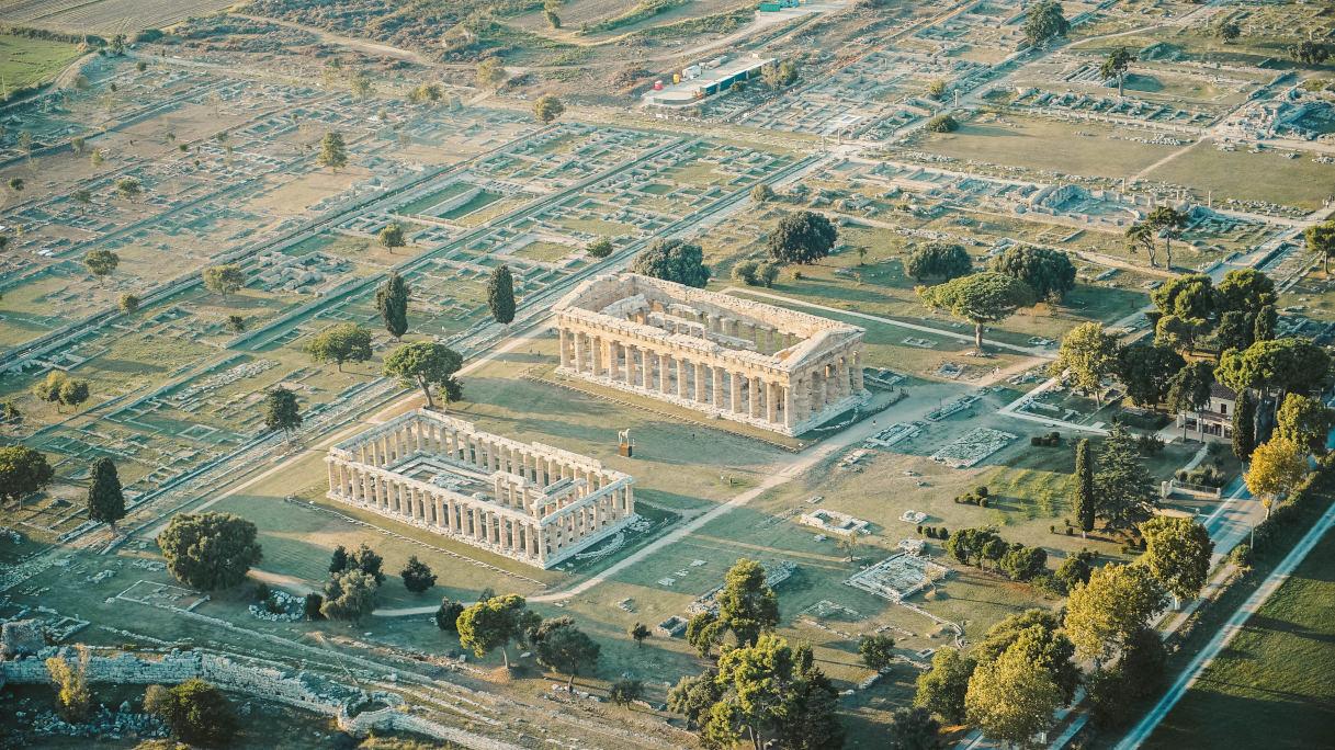 Paestum vista dall'alto