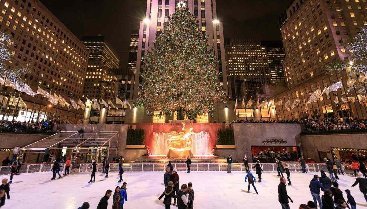 New York Natale pista Rockefeller Center albero