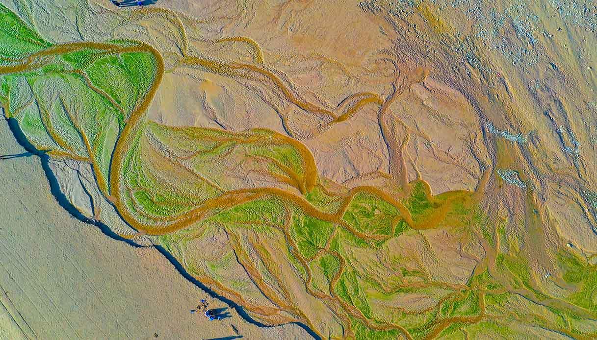 scatti aerei dalla riserva naturale del Fiume Giallo