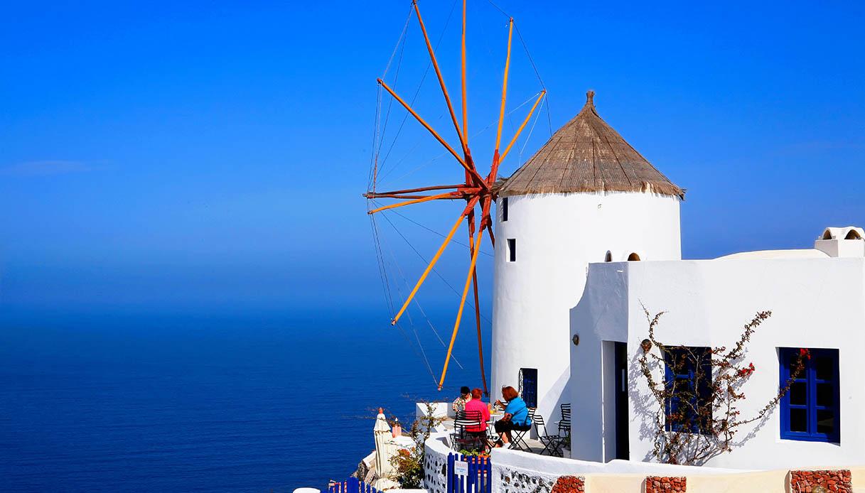 windmill at Oia , Santorini , Cyclades islands, Greece