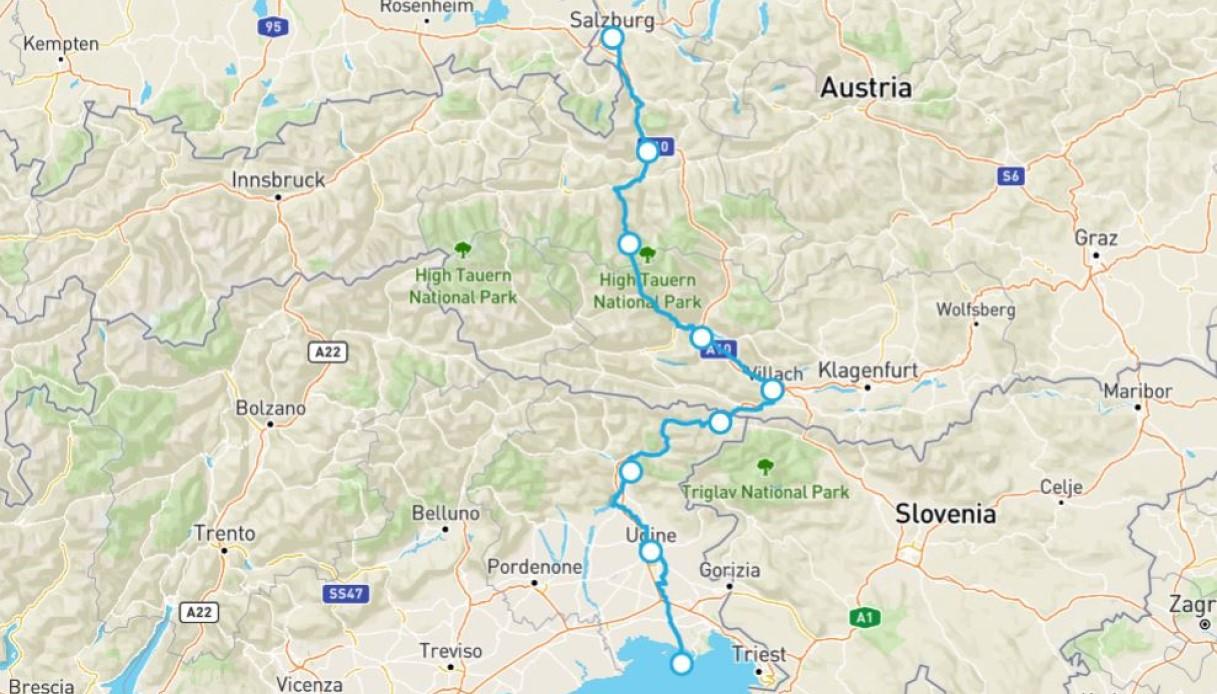 Mappa della Ciclovia Alpe Adria Radweg