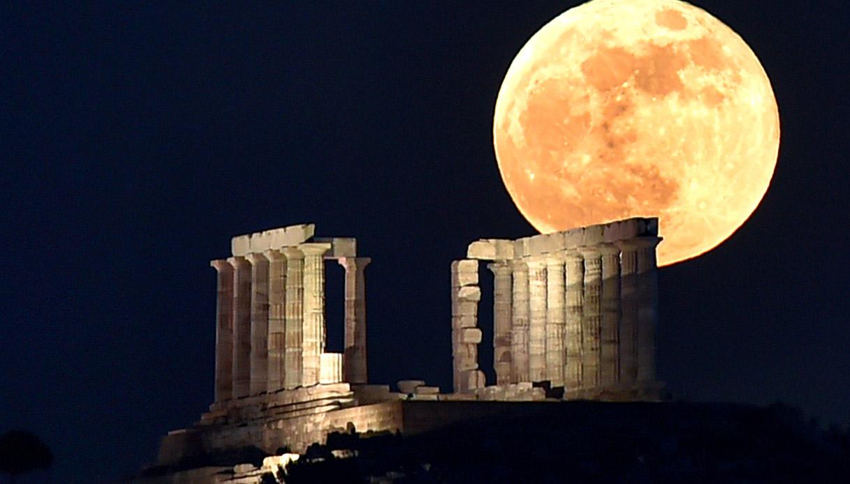 tempio di poseidone, superluna