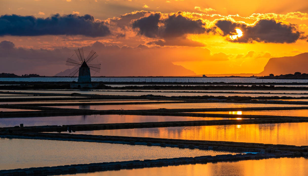 Saline di Marsala al tramonto