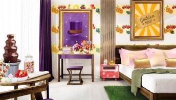 La camera d'albergo ispirata a Willy Wonka  ha una carta da parati da leccare